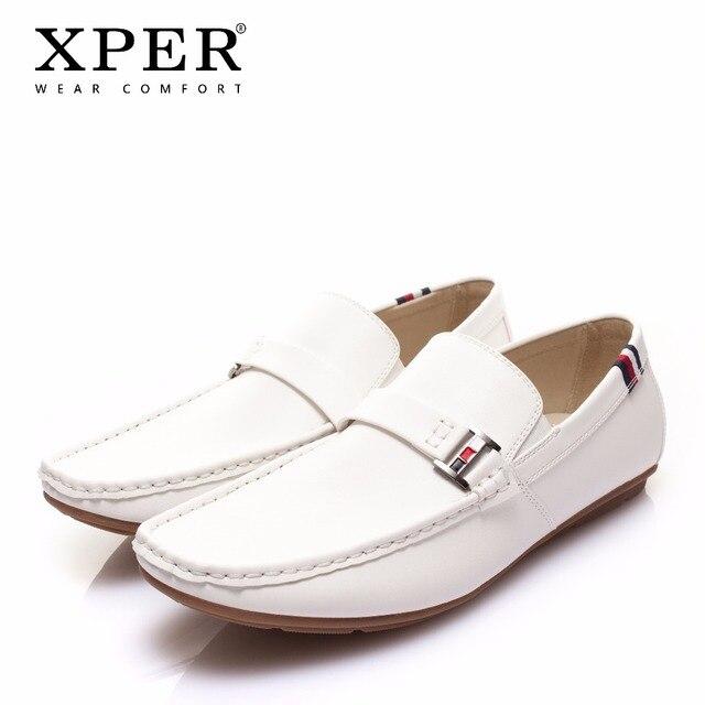 XPER חדש לגמרי עור נעליים יומיומיות גברים אופנה הליכה נעלי גברים נוחים לופרס רך נעלי נהיגה נעלי כחול # CE801WI