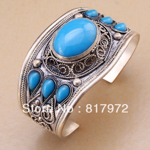 Bling oval Blue stone howlite beaded inlay Tibet Silver Carved Design cuff bracelet Adjustable Party Gift &6YB00059