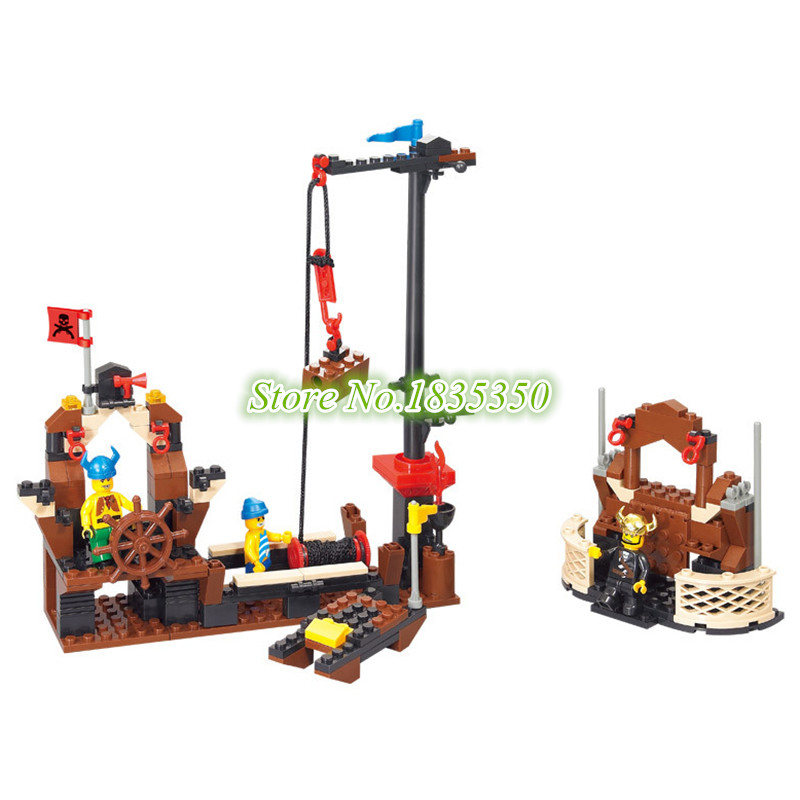 SLUBAN 0279 Caribbean Pirates Ship Boat with Three figureset Building Blocks Children Toys Gift Kids Bricks Toys Christmas gift