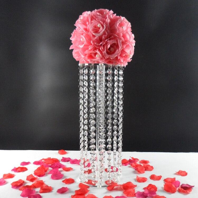 45 cm Grand Cristal Fleur Stand Center De Table Décoration De Mariage Pièce Maîtresse Cristal Pilier