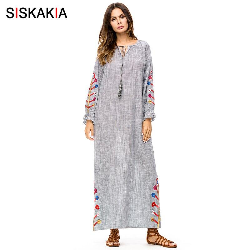 Siskakia Women Dress Ankle Length plus size Maxi long Dress Fall Spring Autumn 2018 Floral embroidery Autumn dresses Grey 3XL 4X