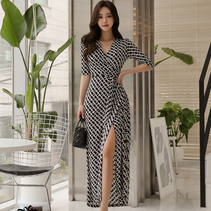 2018 Summer Print V-Neck Women Cloth Half Sleeve Split Casual Maxi Long Vintage Work Dress