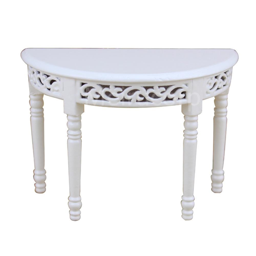 dollhouse miniature 1/12 scale furniture Wooden Semicircular shape White side table