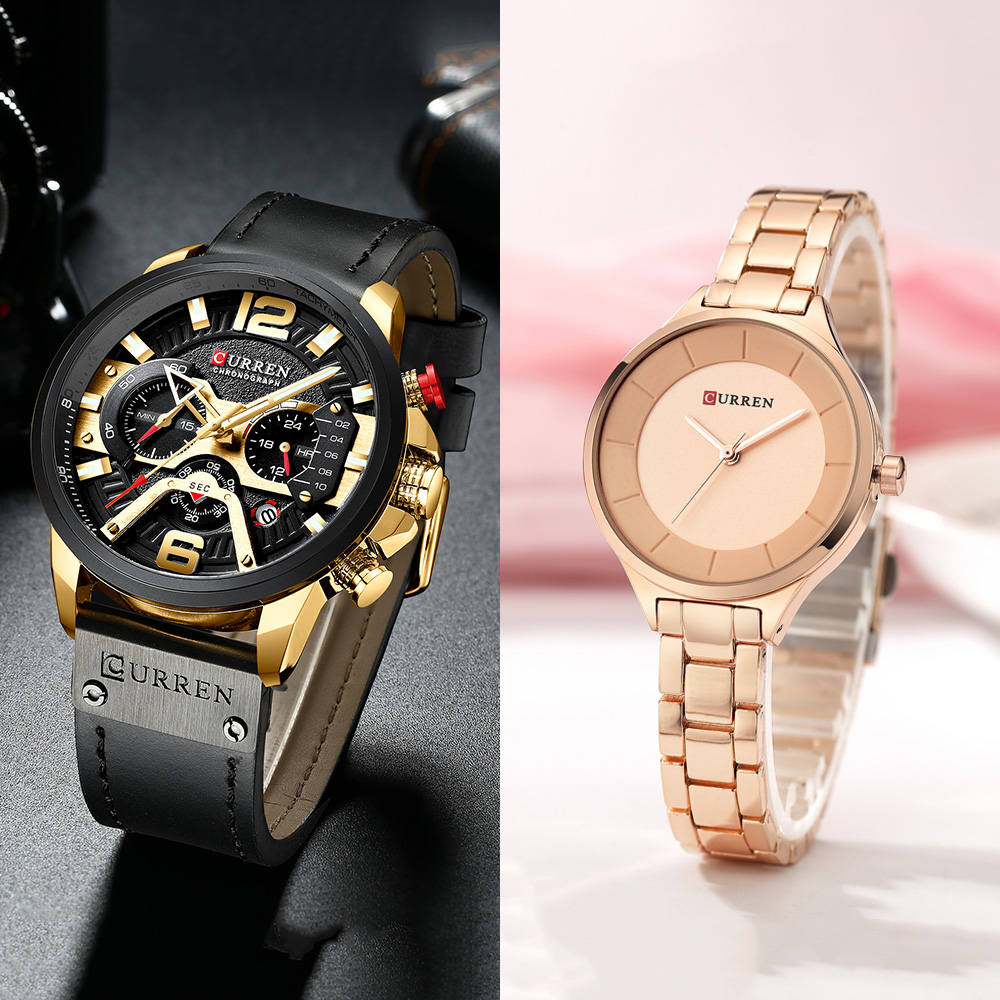Curren Mens Watches Women Watches Top Brand Luxury Fashion Blue Style Quartz Women Watch Waterproof Couple Watch Men Wristwatch