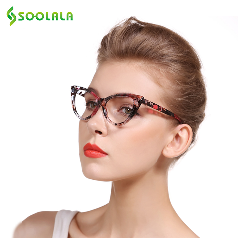 SOOLALA Gafas de Lectura Mujeres Del Ojo de Gato Gafas de Marco de ...