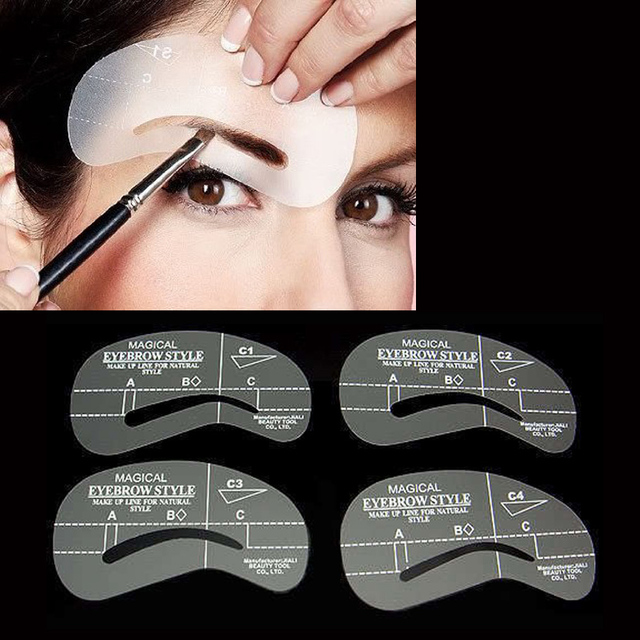 4Pcs Eyebrow Shaping Stencil Set Grooming Tools Drawing Card for Dashing Eyebrows C1-C4 MH88