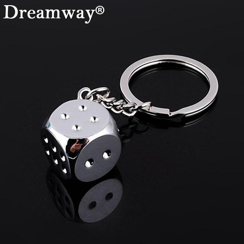 aquare dice keychain fashion gamble boson key chains cool man bag pendants charm female car accessory