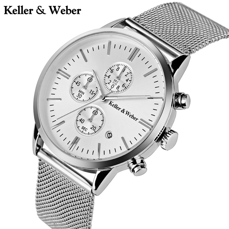 Formal KELLER & WEBER Branded Mens Waterproof 30m Watches with Date Luxury Male Wristwatches relogio masculino horloges mannen keller