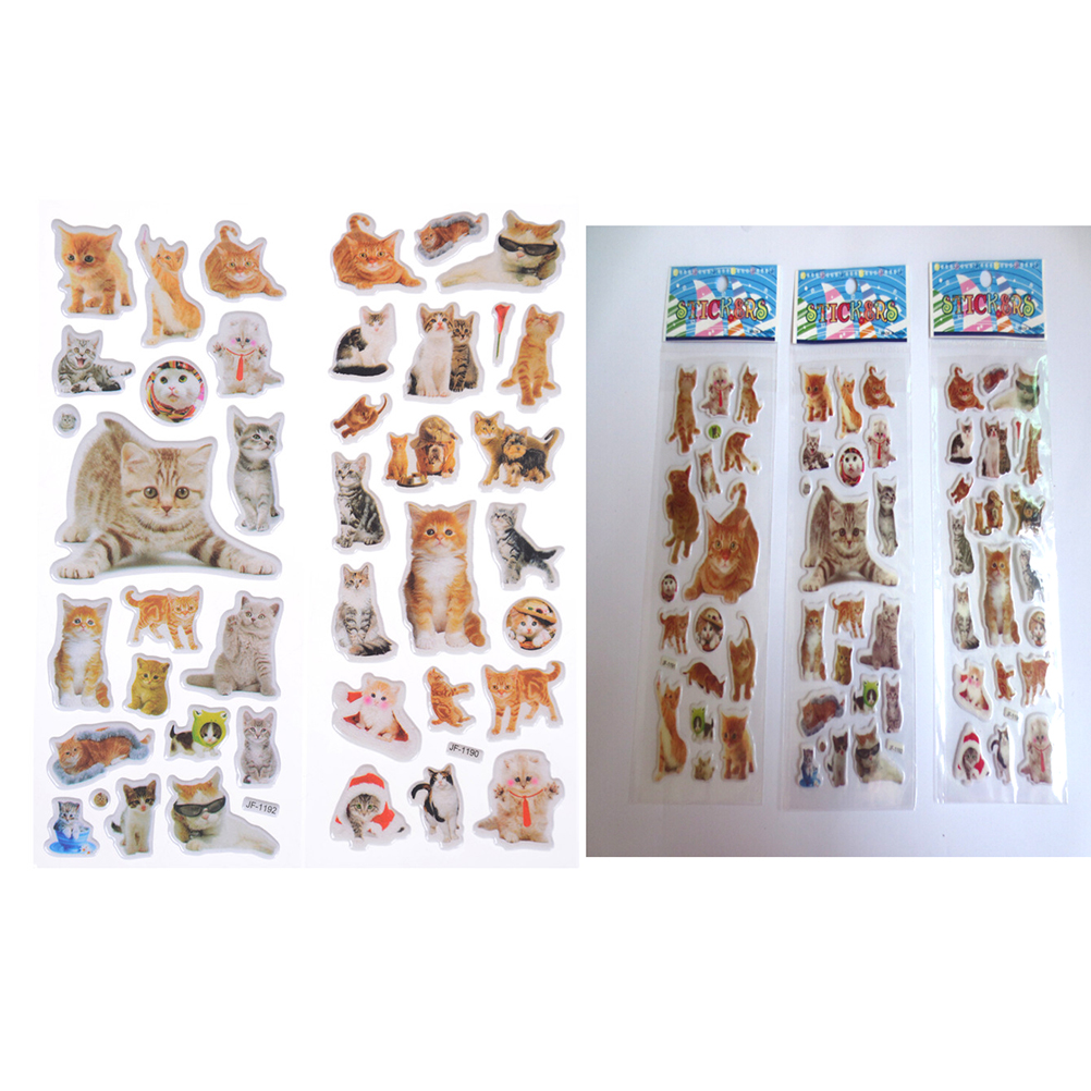 3 Sheet/lot Kawaii PVC Bubble Puffy Stickers Cat Dog Princess Series Sticker Scrapbook Bubble Stickers Reward Kids Toys