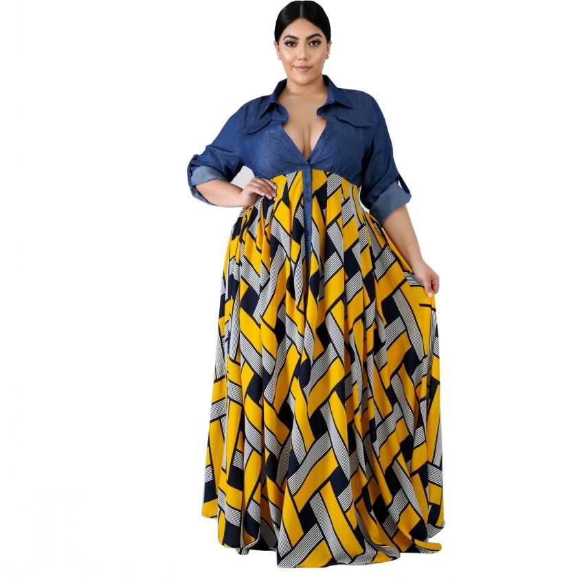 3XL 4XL Plus Size Autumn Africa Clothing Trendy Stripe Printed Long Sleeve Maxi Dress Women Autumn Robe Long Party African Dress
