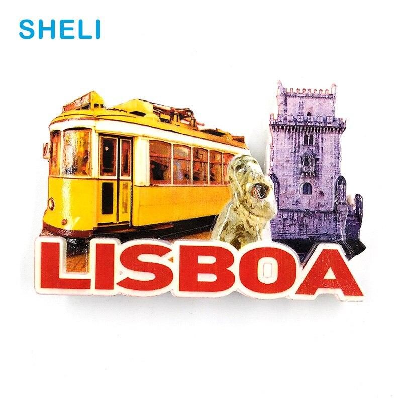 Portugal Travel Souvenir Scenery Lisbon 3D High-end Resin Fridge Magnets Gift Refrigerator Magnetic Sticker Home Decoration