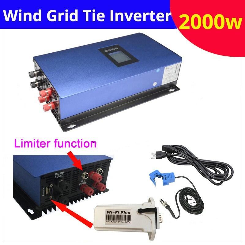 Новый Чистая синусоида 2000 Вт на сетке ветра инвертор bult в ограничитель и Wi Fi отслеживания сетевой инвертор 2kw 230 В с светодио дный дисплей