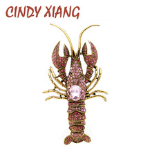 CINDY XIANG 2 Colors Available Large Rhinestone Lobster Brooches For Women Vivid Fish Animal Pin Vintage Jewelry Gift New