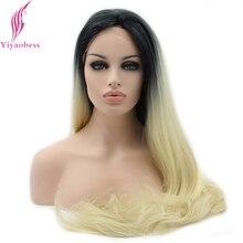 Yiyaobess длинный без клея синтетический парик фронта шнурка прямые волосы термостойкие черные светло-золотистые серые коричневые Омбре парики для женщин
