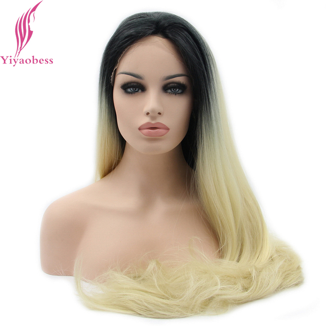 Yiyaobess Two Tone Long Synthetic Lace Front Wig Straight Hair Heat Resistant Black Blonde Ombre Wigs For Women