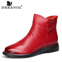DRKANOL British Style Genuine Cow Leather Women Ankle Boots Autumn Fashion Pleated Zipper Short Boots Women Flats Martin Shoes