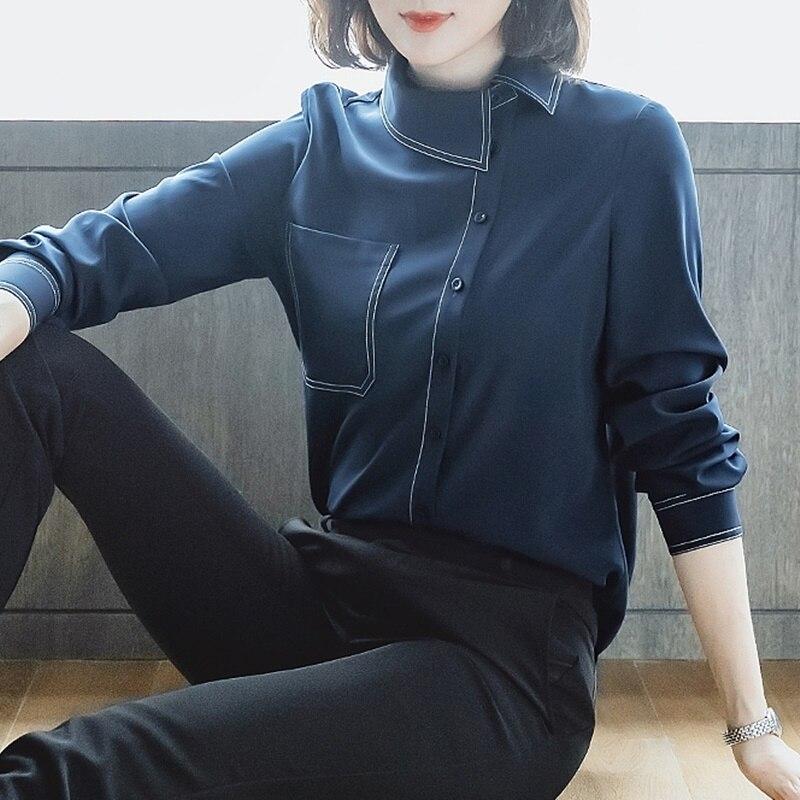 Grande taille mode coréenne femme vêtements féminin Blouse manches longues chemise femme Ol tenue de bureau femmes hauts et chemisiers DD2083