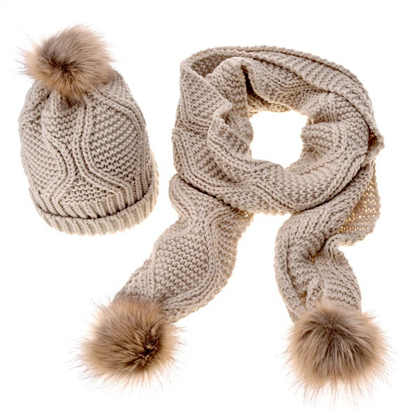 New Woman's Wool Knitted Scarf Hat Set Two Sets Of Rhombic Leather-like Hat And Scarf For Outdoor Warming In  Winter For Women