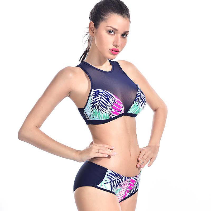 Dua Potongan Ruam Penjaga Baju Renang Wanita Bikini Set Pinggang Tengah Baju Renang Garis Daun Surf Sesuai Zipper Tanpa Lengan Patchwork K Berlaku