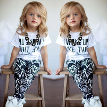 2pcs Infant Toddler Kids Girls I Woke Up Like This White Casual Tops T Shirt Pants Outfits Set 2-9Y