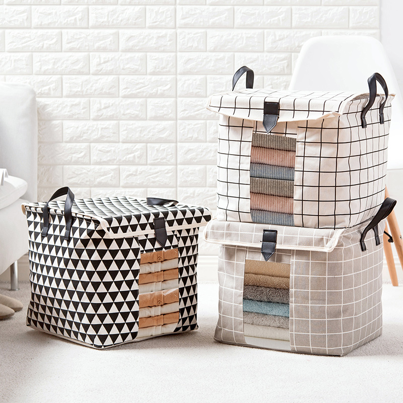 86af21a55e43 US $13.72 30% OFF|Thick Cotton Line Clothes Storage Baskets with Cover  Square Leather Handle Clear Underwear Stocks Toys Storage Box Home  Storage-in ...