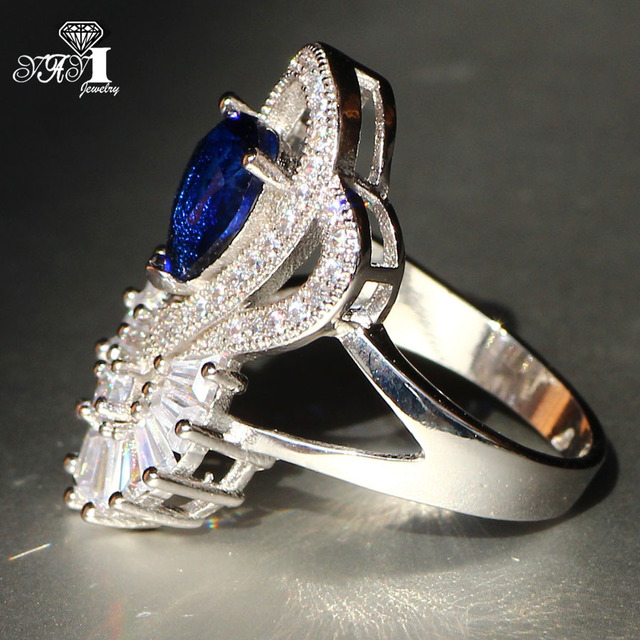 YaYI Jewelry Fashion  Princess Cut 5.6 CT Blue Zircon Silver Color Engagement Rings wedding Rings Party Rings