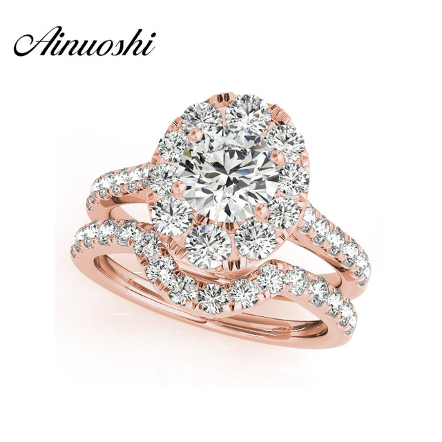 AINUOSHI 925 Sterling Silver Rose Gold Color Women Engagement  Bridal Ring Sets 1 Carat Round Cut Halo Wedding Ring Sets Jewelry