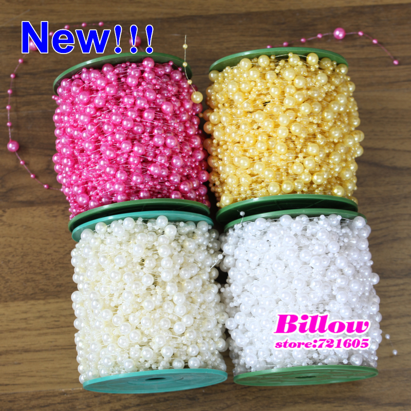 Colorfrul 3 strips Fishing Line Artificial Pearl Beads Chain Garland  Flowers Wedding Party Decoration Products Supply 87b8c71e59d0