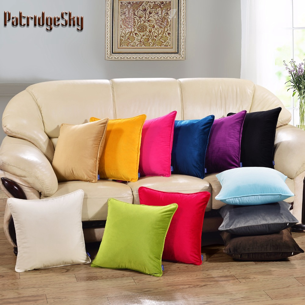 Patridgesky 2017 new knitted velvet velour solid color for Funda sofa exterior