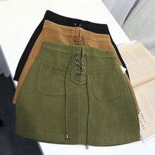 Yovamoo Khaki Suede Leather Korean Skirt 2018 Double Pocket A Line Short Drawstring Bandage Wholesale Skirts Womens Clothing