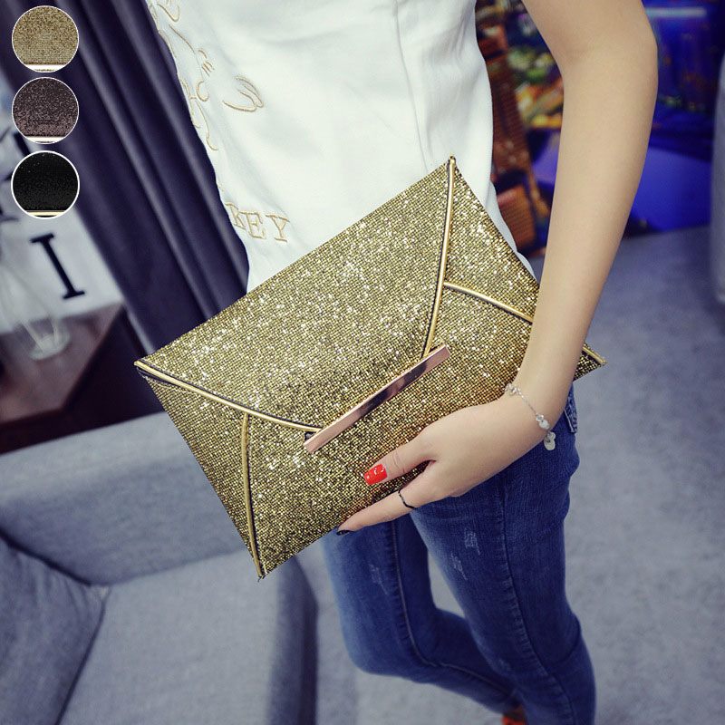Simple Fashion Women Envelope Clutch Bag Solid Color Leather Glitter Purse Party Delicate Handbag Ladies Wedding Bags WM