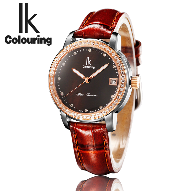 IK Colouring 10ATM Water Resistant Male Clock Auto Date Mechanical Men Watch Guenuine Leather Strap Automatic Wristwatch