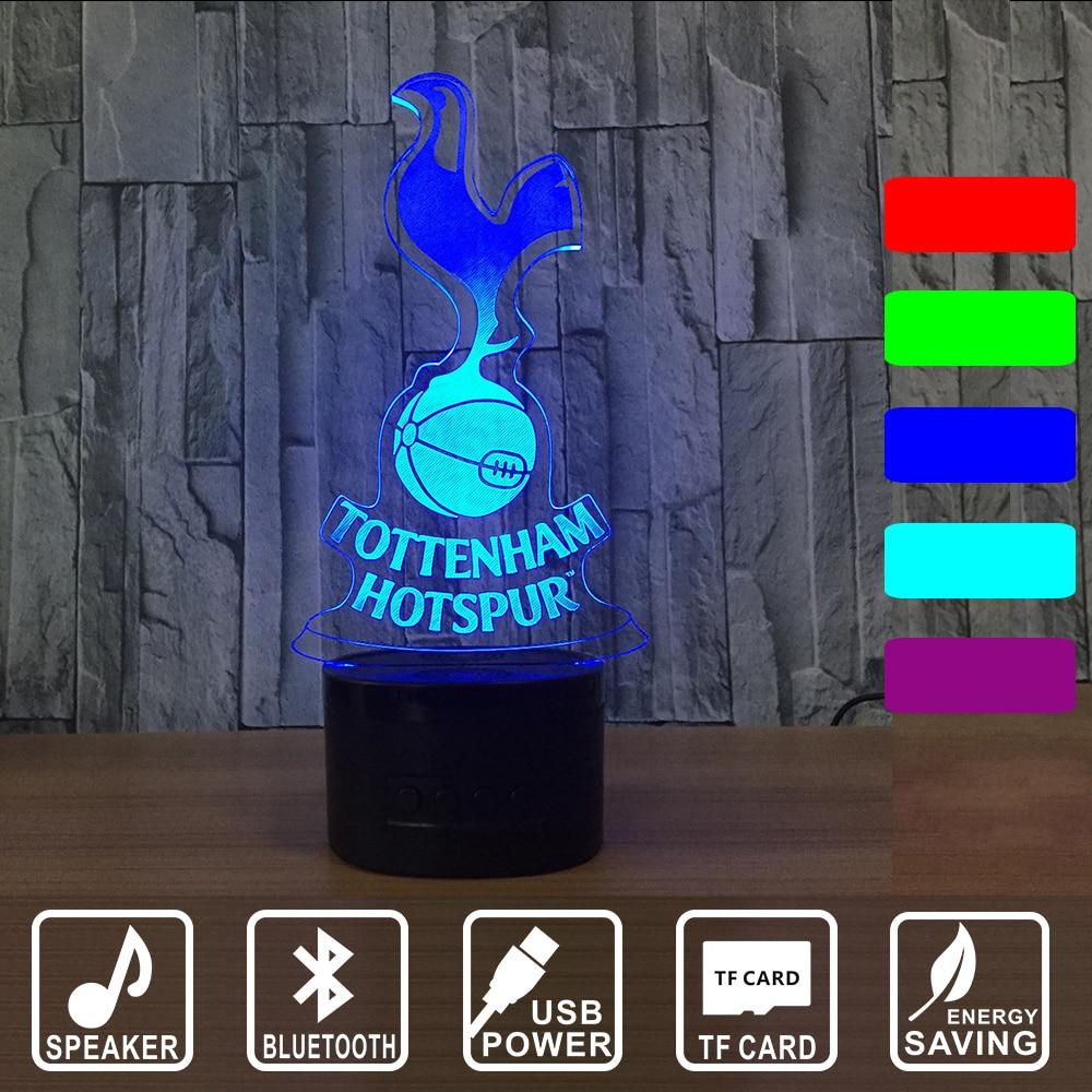 Tottenham Hotspur TTNM Night Light Football Club 3D Illusion Table Lamp 7 Color Changing Luminaria Bluetooth Lights IY803007B tottenham brighton