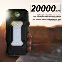Universal Portable Source Power Bank 20000mAh Solar Mobile Power Bank Charger Flashlight Phone Charging Treasure With