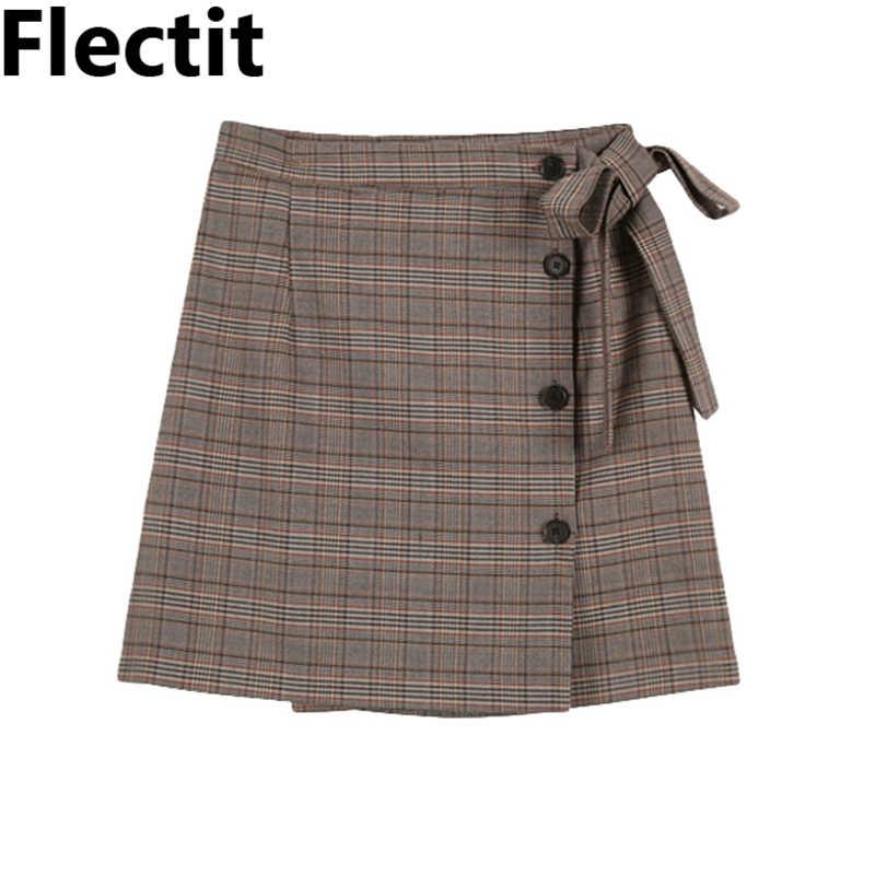 Flectit Vintage zapinana na zamek Glen Plaid Sarong Mini spódniczka z muszką z wysokim stanem A-Line kobiety Retro spódnice robocze #