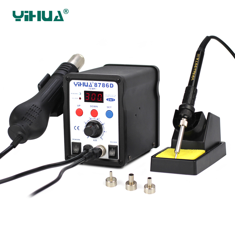 цена на YIHUA 8786d soldering station 2 in 1 smd Hot Air Gun Soldering Station With Soldering Iron Digital 110V 220V bga Rework Stations