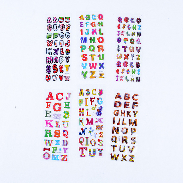 10 sheets alphabet letter bubble sticker cute 3d cartoon child stickers for children baby kids classic