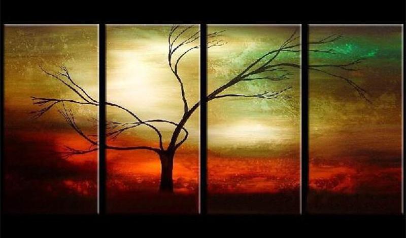 4 stcke moderne abstrakte landschaft acryl gemlde handgemalte baum lgemlde auf leinwand home decor 4 panel - Moderne Bder