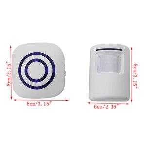 Image 3 - Kablosuz kızılötesi hareket sensörü kapı güvenlik Bell Alarm zil ab/abd Plug 3 AAA piller dahil değildir