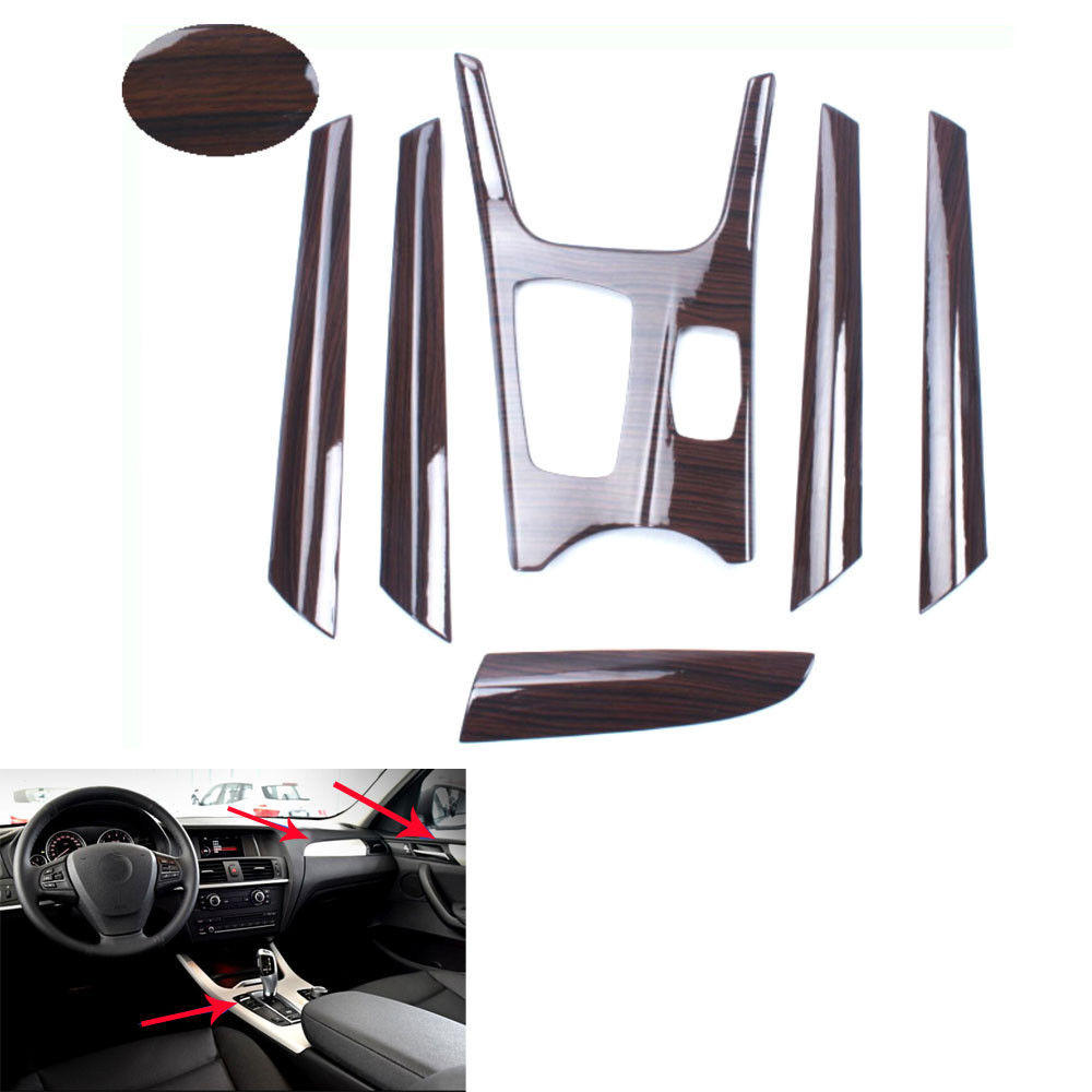 BBQ@FUKA Car Mahogany Interior Gear Panel Full Trim Dash Cover 4x Door Armrest Covers For 2011-2016 X3 F25 Auto styling Stikcers