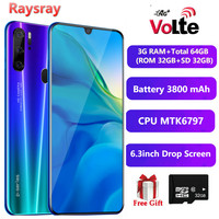 Raysray 4G LTE Cellphone P30 Smart Phone 3G RAM+Total 64GB (ROM 32GB+SD 32GB) 3800mAh Mobile Phone 8MP Dual SIM Cards