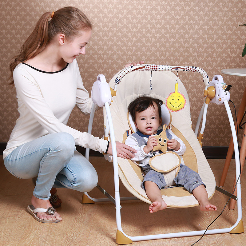 New Style Portable Electric Baby Swing Chair <font><b>Bouncer</b></font> Music Rocking For Baby Safe Newborn Baby Sleeping Basket