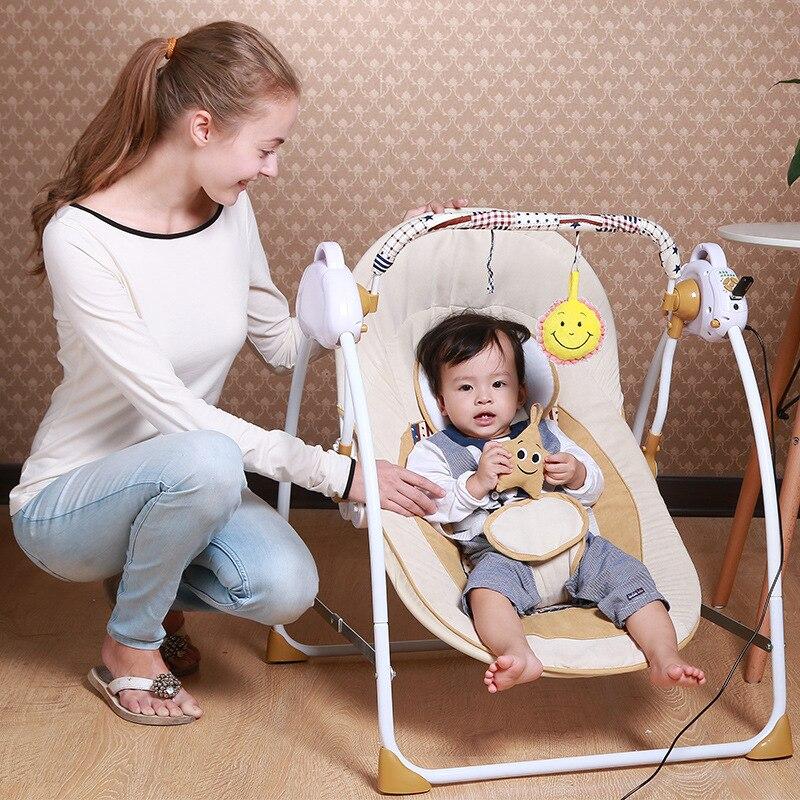 Nouveau Style Portable électrique bébé balançoire chaise videur musique à bascule pour bébé sûr nouveau-né bébé dormir panier