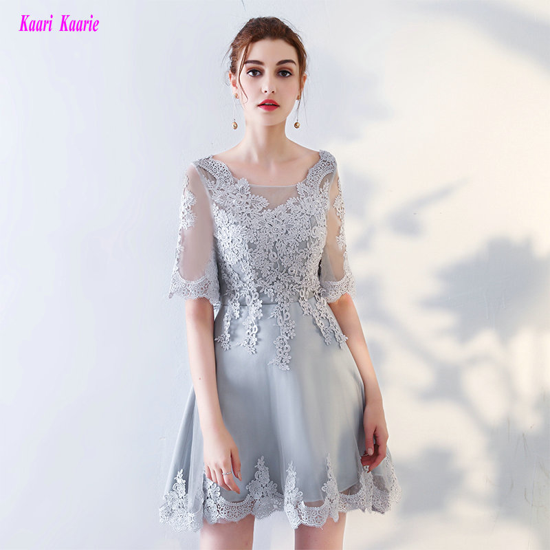 Fashion Silver Club   Cocktail     Dresses   2019 Sexy Scoop Tulle Appliques Formal Prom Gowns Short   Cocktail   Party   Dress   Real Photos