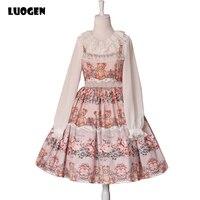 Cute Japanese Mori Girl Linen Dress Bear & Pumpkin Carriage Printed Women's Sweet Lolita Dress JSK Sleeveless