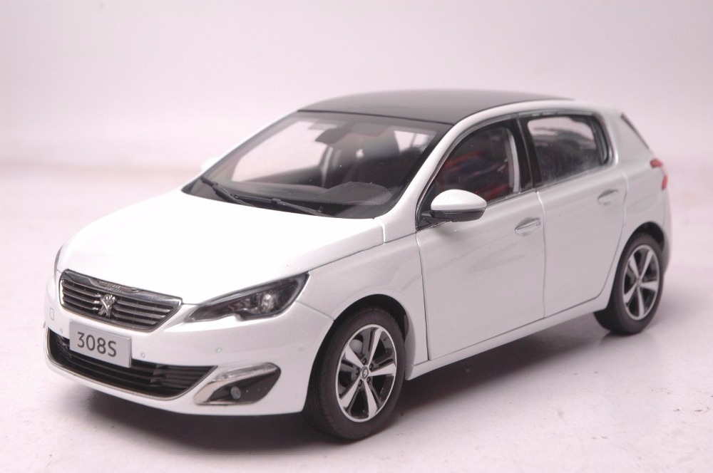 1:18 Diecast Model for Peugeot 308S 2015 White Hatchback Alloy Toy Car Miniature Collection Gift 308