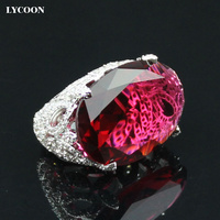 Newest Fashion Party Ring Plated Real Platinum Red Oval Clear Crystal Rings Prong Setting Cubic Zirconia