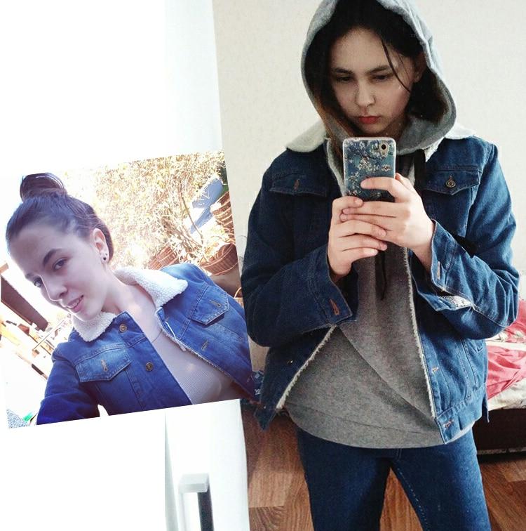 Spring Autumn Winter New 19 Women lambswool jean Coat With 4 Pockets Long Sleeves Warm Jeans Coat Outwear Wide Denim Jacket 18
