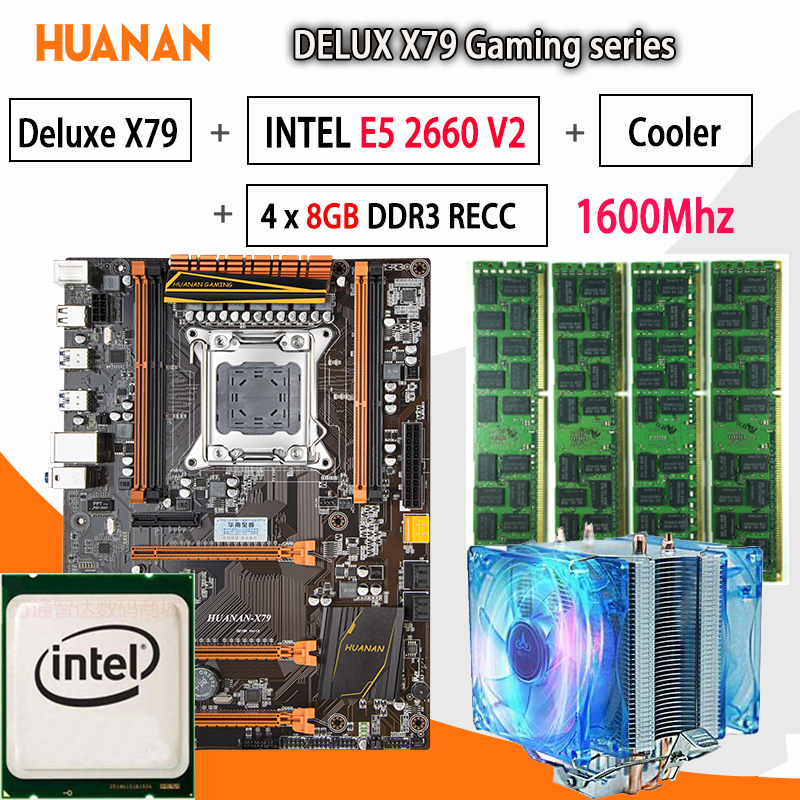 HUANAN golden Deluxe X79 gaming motherboard LGA 2011 ATX CPU E5 2660 V2 SR1AB 4 x 8G 1600Mhz 32GB DDR3 RECC Memory with cooler термосумка thermos e5 24 can cooler 19л [555618] лайм