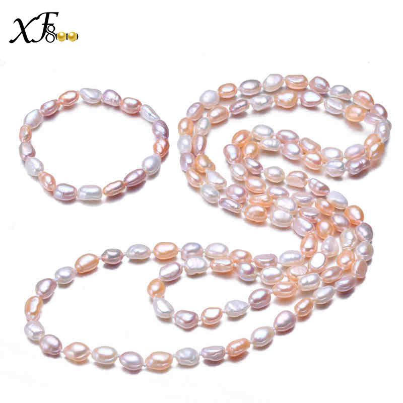 XF800 Natural Freshwater Pearl Se Jewelry Set ,9-10mm Baroque Pearl Long Necklace bracelet Trendy Wedding  Gift S98XF800 Natural Freshwater Pearl Se Jewelry Set ,9-10mm Baroque Pearl Long Necklace bracelet Trendy Wedding  Gift S98
